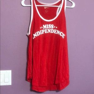 "Red tank with white accent ""Miss Independence"""